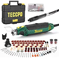 Teccpo Rotary Tool Kit with 110 Accessories, 4 Attachments, Carrying Case, 6 Variable Speed with Flex shaft, Protective Shield,