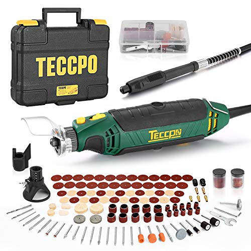 (50% OFF Coupon) TECCPO Rotary Tool Kit with 110 Accessories & 4 Attachments $21.49