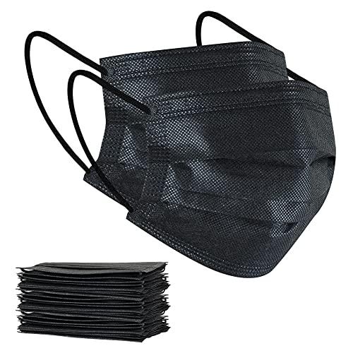 100Pcs Disposable Face Masks, Black Face Mask, 3 Ply Disposable Mask