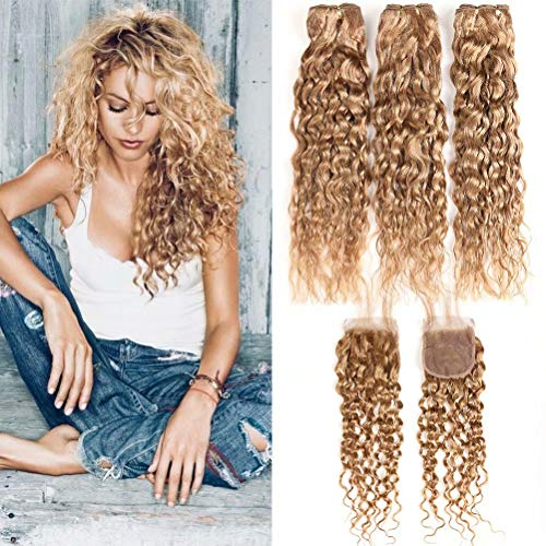 XCCOCO Hair 27# Honey Blonde Wet and Wavy Human Hair 3 Bundles with Lace Closure Curly Hair Peruvian Remy Dark Blonde Water Wave Bundles with Closure Free Part(12 14 16+10inch Closure)