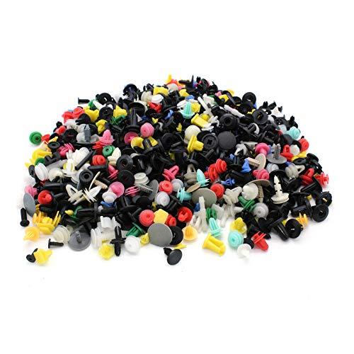 KKmoon 1000pcs Remaches Plastico Coche Grapas Coche Paneles de Puerta Ajuste Mixto, Parachoques, Retenedor, Clips de Pasador de Empuje