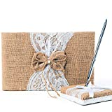 Rustic Wedding Guest Book Made of Burlap and Lace - Includes Matching Pen Holder and Silver Pen - 120 Lined Pages for Guest Thoughts - Comes in Gift Box (Burlap Bow with Pearl Center)