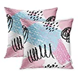 18x18 Inch Decorative Set of 2 Throw Almohadas Cover Pattern Abstract Geometric Zigzag Black Brush Square Home Cushion Sofa Two Sides Almohadas Case