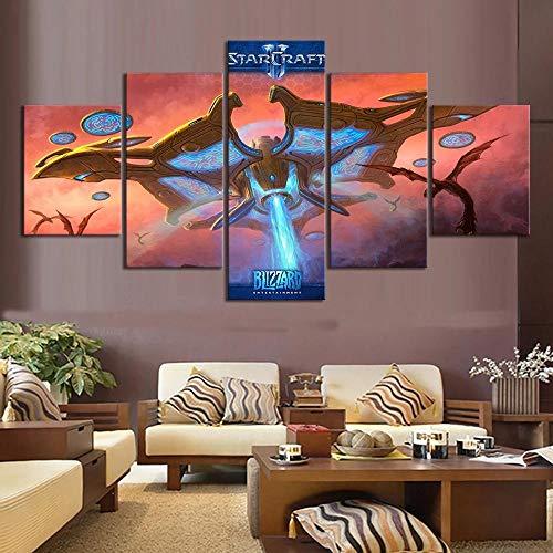 WANGZUO Drucke Auf Leinwand 5 StüCk Leinwand Bilder GemäLde Starcraft 2 Videospiel Poster GemäLde Wandkunst Bilder Kunstwerk WandgemäLde Rahmen Malerei-150x80CM