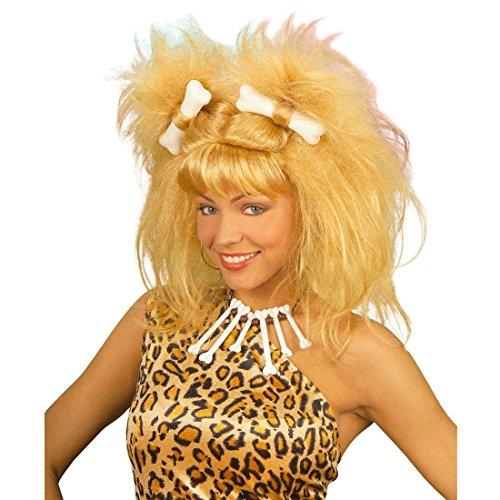 NET TOYS Blonde Steinzeit Perücke Wilma Faschingsperücke Urzeit Karnevalsperücke blond Fasching Karneval Feuerstein