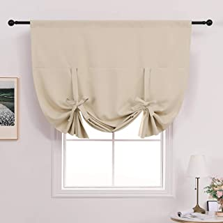 MIULEE Short Tie Up Kitchen Window Curtains for Light Block Small Rod Pocket Privacy Protected Blackout Balloon Shade for Bathroom 1 PC 46 x 63 inches Beige