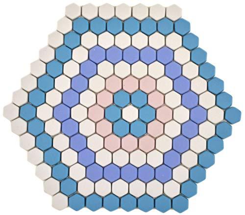 Mosaico de cristal hexagonal Roma, azul, rosa, blanco mate, para paredes de cocina, revestimiento de pared   10 alfombrillas