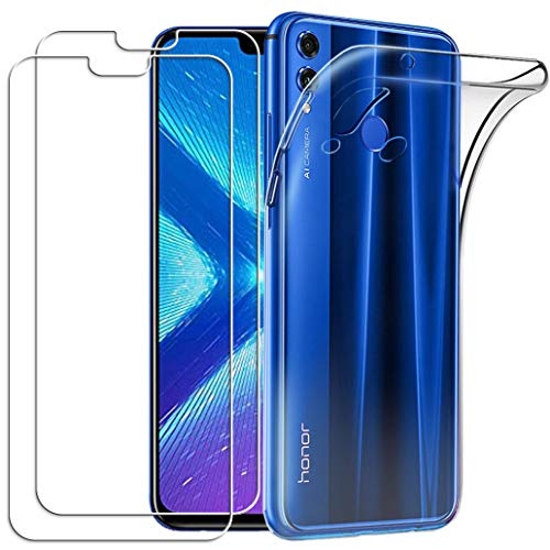YOOWEI Coque Huawei Honor 8X Transparente+ [2 Pack Verre trempé écran Protecteur], Transparente Silicone en Gel TPU Etui Huawei Honor 8X Coque de Protection Housse Antichoc Cover pour Huawei Honor 8X