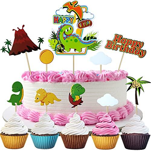Dinosaurio Cupcake Toppers,12 Piezas Dino volcán nubes cocotero Selva Decoracion Para Tartas Infantiles, Baby Shower Fiesta De Cumpleaños Decoración De La Torta Suministros