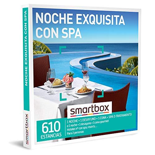 SMARTBOX - Caja Regalo - Noche Exquisita con SPA - Idea de Regalo - 1 Noche con Desayuno, Cena y SPA o Tratamiento o 1 Noche con Desayuno y Cena para 2 Personas