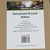 8 x Woodside Galvanised Heavy Duty Steel Ground Stakes / Anchorage Stakes / Tent Pegs – Suitable For Marquees, Gazebos, Trampolines, Bouncy Castles, Tents, Polytunnel Greenhouses 12