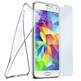Silikon-Hülle für Samsung Galaxy S5 Mini | + Panzerglas Set [360 Grad] Glas Schutz-Folie mit Back-Cover Transparent Handy-Hülle Samsung Galaxy S5 Mini Hülle Slim Schutzhülle Panzerfolie