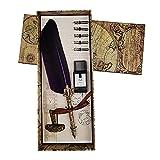 Pluma de pluma, pluma de inmersión vintage, pluma de caligrafía inglesa, juego de botella de tinta con 5 puntas de repuesto para papelería, regalo y papelería de escritura (morado)