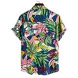 YOUQU Camisa Hawaiana Hombre,Funky,Informal,con Botones,Gráfico para Fiesta En El Club Nocturno,Manga Corta,Unisex,Camisetas De Surf En La Playa,Coloridas,3XL
