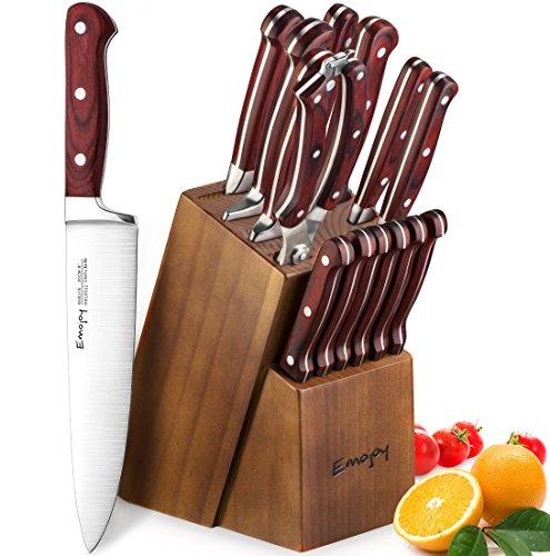 Emojoy Set Coltelli, 15 Pezzi Ceppo Coltelli in Legno, Set Coltelli Cucina, Set di Coltelli da Cucina Professionale con Acciaio Tedesco