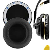 Geekria QuickFit Protein Leather Replacement Ear Pads for SteelSeries Siberia V1, Siberia V2, Siberia V3 Prism Gaming Headphones Earpads, Headset Ear Cushion Repair Parts (Black)