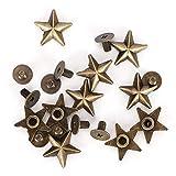 50 pièces en alliage de Zinc Rivet vis Rivet étoile forme Rivet avec vis pour sacs vêtements chaussures ceintures bricolage vêtements chaussures décoration accessoires 14mm(Bronze)