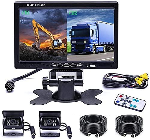 OiLiehu Sistema de cámara de Respaldo Dual con Vista Frontal de 4 monitores divididos de 7 Pulgadas, 2 cámaras de automóvil con Cable, visión Nocturna de 18 Infrarrojos, con Cables de 2 x 10 m para