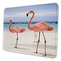 ゲーミングマウスパッド - オレンジ色のフラミンゴとビーチの風景 マウスパッド おしゃれ ゲームおよびオフィス用/防水/洗える/滑り止め/ファッショナブルで丈夫 25x30cm