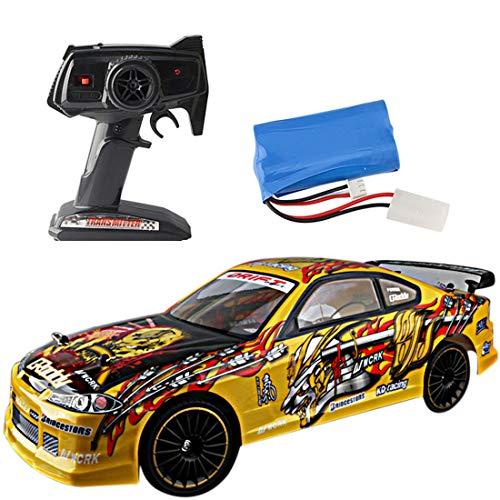 POXL RC Coche Drift Teledirigido, 2.4Ghz 4WD Teledirigido Vehículo Alta Velocidad Auto para Niños Adultos (Las Ruedas están coloreadas al Azar)