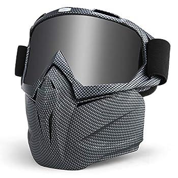 KUTOOK Motorcycle Goggles Mask Ski Goggles Snowboarding Goggles Grey Frame Grey Lens