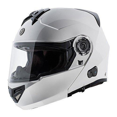 TORC T27 Full Face Modular Helmet with Blinc Bluetooth (White, Large)