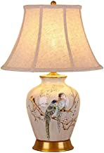 SLH American Country Retro Bedside Table Lamp Flower and Bird High-Grade Ceramic Bedroom Table Lamp