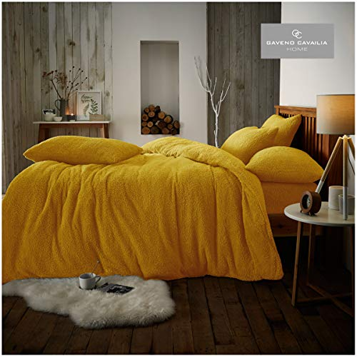 Quality Teddy Plain Duvet Set with Pillowcases, Easy Care Soft & Cosy Quilt Set Winter Bedding, Single Size, Ochre