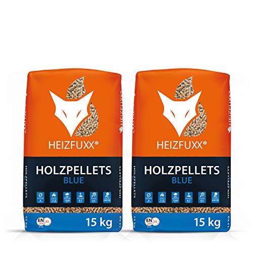 PALIGO Holzpellets Blue Heizpellets Nadelholz Wood Pellet Öko Energie Heizung Kessel Sackware 6mm 15kg x 2 Sack 30kg / 1 Karton Heizfuxx