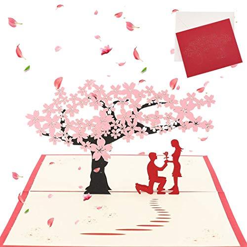 Sethexy 3D día de San Valentín Tarjetas de felicitación con sobres Surgir Cerezo Romántico Boda Regalo de aniversario para Esposa Marido Novia Novio