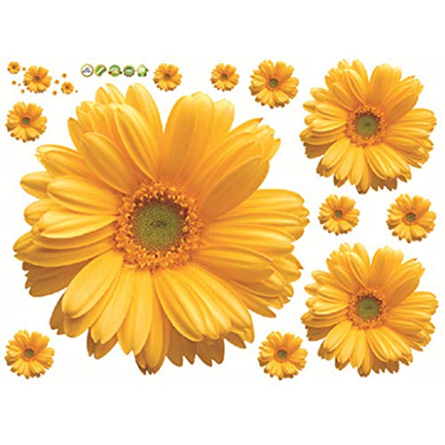 Fliyeong Premium Quality New Decorative Combination DIY Flower 3D Wall Stickers Chrysanthemum Daisy Art Decor Home Bedroom Stickers 3D Wall Decals Yellow