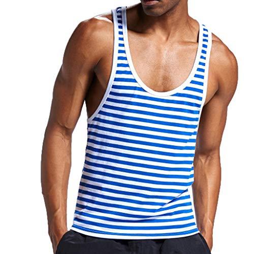 Camiseta sin Mangas para Hombres Sexy Ropa Interior de algodón de Raya de Tirantes de Deporte con Mangas Tops