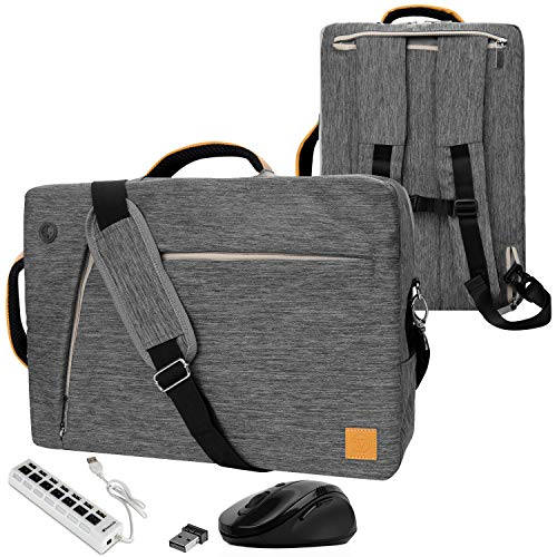 VanGoddy Convertible Grey Laptop Bag 17.3 inch with Mouse and USB Hub Fit for MSI Raider, Mobile Workstation, X Leopard, Apache Pro, Stealth Pro, Prestige, Dominator, Titan 17.3'