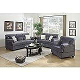Benzara Microfiber 3 Piece Sofa Set In Gray