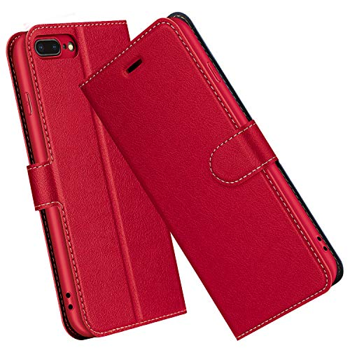 ELESNOW Hülle für iPhone 8 Plus / 7 Plus, Premium Leder Flip Schutzhülle Tasche Handyhülle mit [ Magnetverschluss, Kartenfach, Standfunktion ] für Apple iPhone 8 Plus / 7 Plus (Rot)