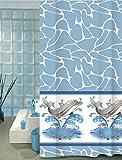 Wohnideenshop Duschvorhang Delphin Limpid 180cm breit x 200cm lang Textil + Ringe