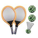 テニスラケットセットトレーニングキッズギフトアウトドアスポーツ屋内幼稚園練習バドミントンボールポータブル親子ゲームおかしい耐久性のあるビーチおもちゃ初心者(オレンジ)