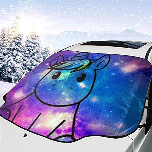 Mattrey Einhorn in Galaxy Auto Windschutzscheibe Sonnenschutz Abdeckung Frontscheibe Wasser Sonnenlicht Schnee Abdeckung, Schwarz , Einheitsgröße