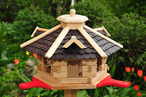 ÖLBAUM Vogelhaus Premium 55 cm, mit Landebahn - Anflugbrett NEU, Massivholz,wetterfest, mit Silo/Futtersilo aus Holz Vogelhäuschen, SGA50duOS Dunkelbraun braun