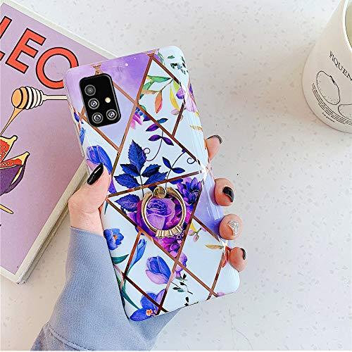 Felfy Kompatibel mit Galaxy A71 Hülle Glitzer Glänzend Sanft Silikon Schutzhülle, Galaxy A71 Handyhülle Marmor Blume Tropisch Muster Ultra Dünn Überzug Cover Case mit Ring Ständer (Lila)