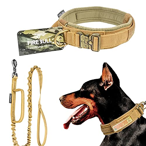 Tactical Dog Collar Bungee Leash Set with Control Handle and Metal Buckle with Adjustable Military Training Nylon Collar Dog Training for German Shepherd French Bulldog