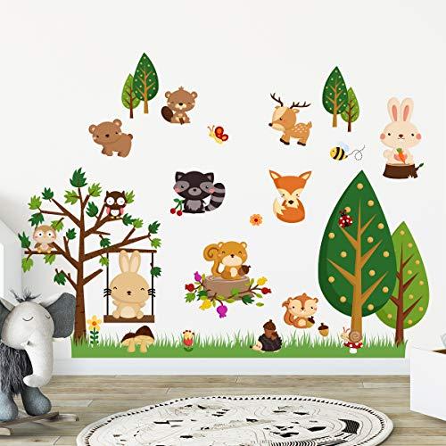 Stickers adhésifs Enfants | Sticker Autocollant animaux de la forest - Décoration murale chambre enfants | 60 x 120 cm