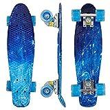 Morer Galaxy Pattern Skateboard, 22 pulgadas, ruedas LED iluminadas Cool Penny Board Complete Skateboards para principiantes Mini Standard Skateboard para niñas y niños (4)