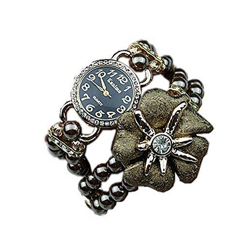 SAMGU Frauen Mode Strass Faux-Perlerhinestone-Uhren Quarz Analog Armbanduhr Wrist Watches Bettelarmband Uhr Farbe café