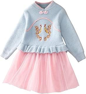 Xifamniy Infant Girls Long Sleeve Skirt Cotton Phoenix Embroidery Sweater Mesh Dress Light Blue