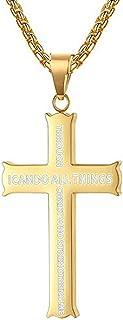 """Men Women Cross Pendant Necklace Bible Verse Philippians 4:13,Come with 24"""" Chains"""
