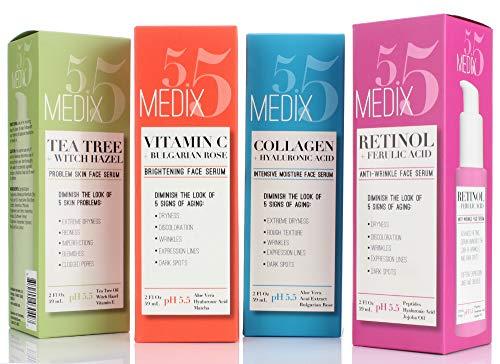 51uTzeTPzqL - Medix 5.5 Vitamin C Cream & Vitamin C Serum Two Piece Set. Anti-Aging Vitamin C Set with Vitamin E & Turmeric for Brightening, Dark Spots, Discoloration, and Sun Damaged Skin. 15oz Cream + 2oz Serum.