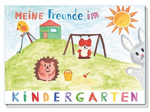 Kindergarten Freundebuch / Meine Freunde im Kindergarten / 48 Seiten DIN A5 Querformat Hardcover / liebevoll von Hand illustriert / für Mädchen und Jungen (Kindergarten-Tiere)