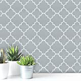 """Guvana 17.7""""x197""""Gray Trellis Peel and Stick Wallpaper Trellis Pattern Contact Paper Removable Wallpaper Self Adhesive Contact Paper Grey Wallpaper for Holiday Wall Livingroom Bedroom Cabinets Decor"""