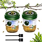 Wasp Trap Outdoor-2 Pack-Solar Energy,Reusable,Waterproof, Portable Lure Wasp Killer-Yellow Jackets, Hornets and Insect Honey Bee Catcher-Includes 2 Cleaning Brushes